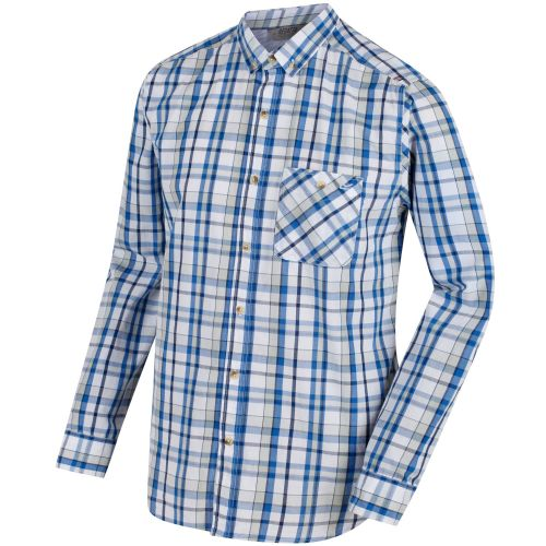 Regatta - BACCHUS COOLWEAVE LONG SLEEVE SHIRT  - Oxford Blue Check